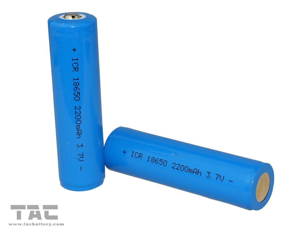 18650 Lithium Ion Cylndrical Battery 3.7V  2200mAh li-iON Cell  For LED Light