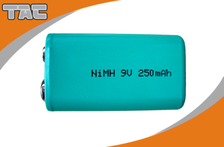 High Capacity Ni MH Batteries 9V 250mAh / Nickel Metal Hydride Rechargeable Batteries
